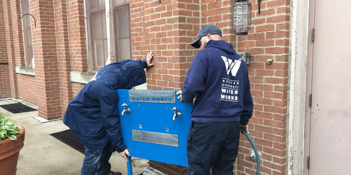 Outdoor handwashing station installed for Cincinnati's homeless