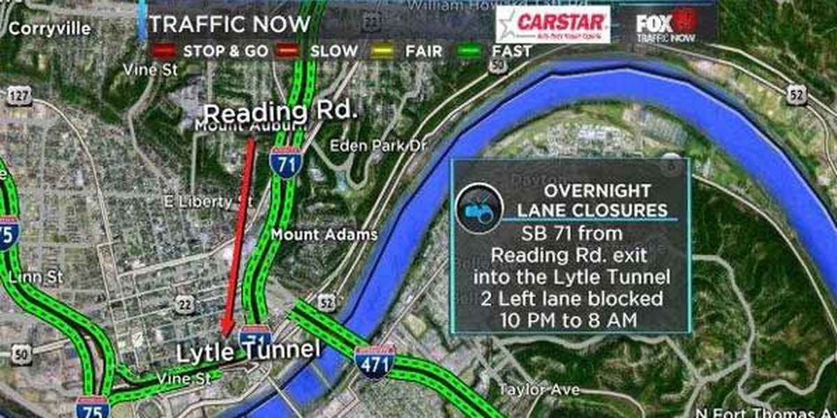 Overnight SB I-71 closure Downtown