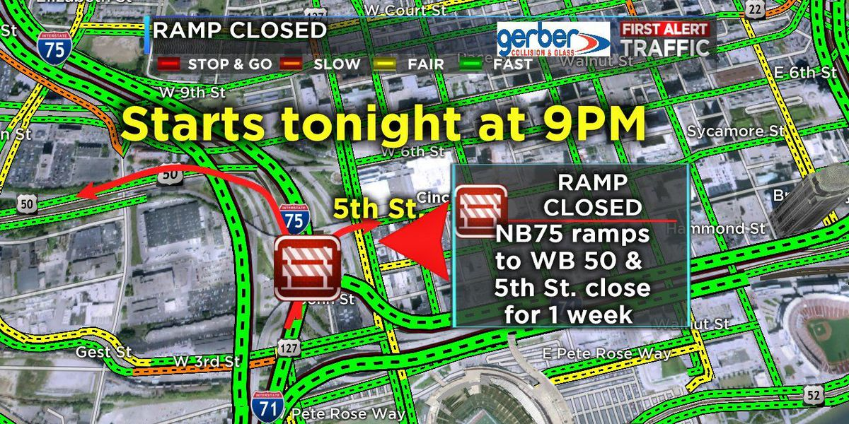 Ramps to temporarily close on NB I-75