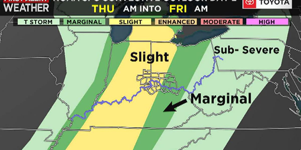 Thursday's rain will arrive in two rounds