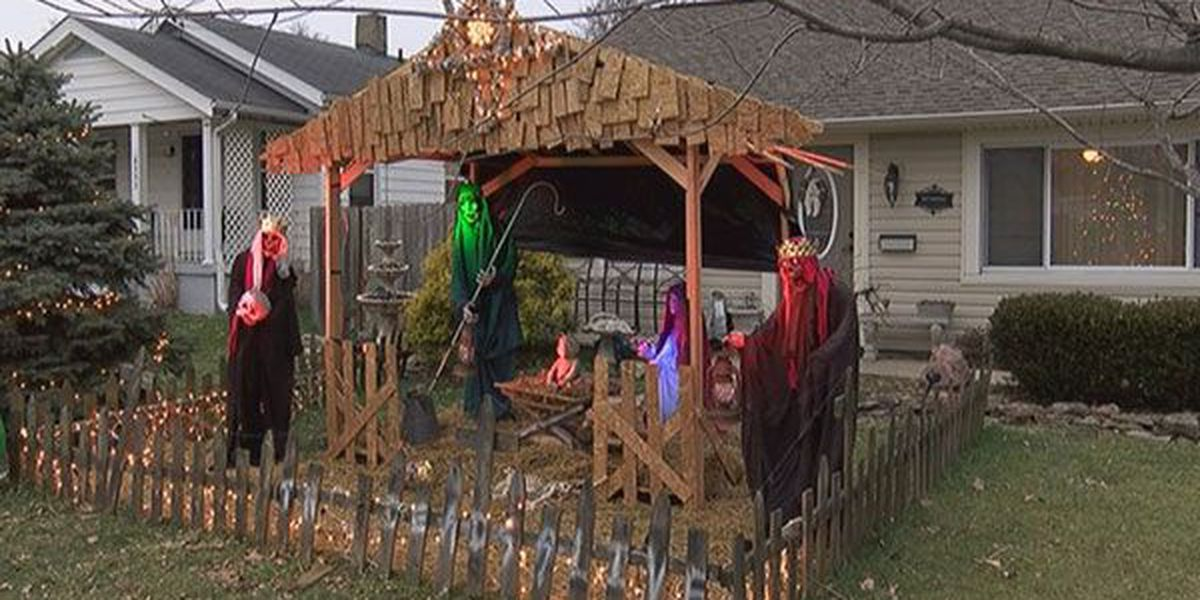 Sycamore Township homeowner does unique and unusual nativity scene with zombies