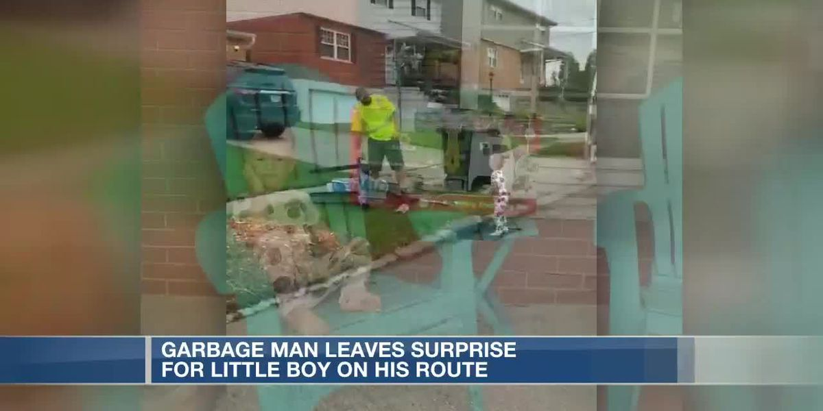 Garbage man leaves surprise for little boy on his route