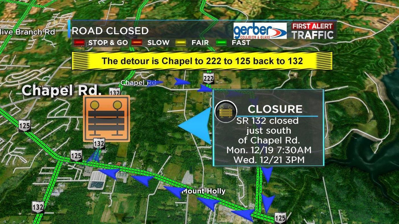 State Route 132 closures set for Dec  19