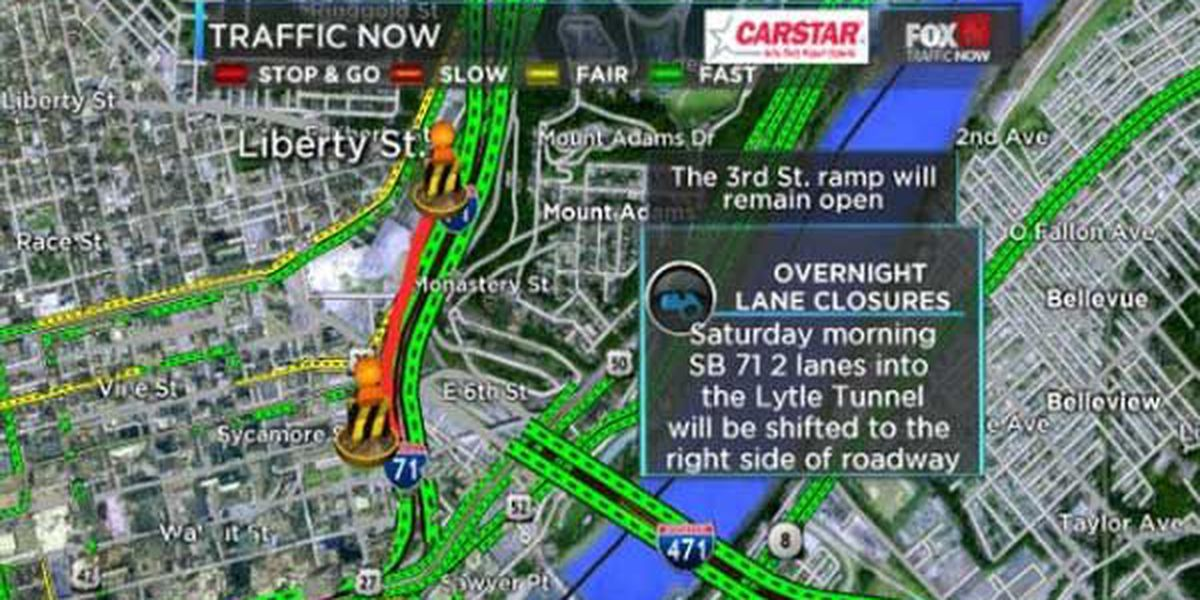 SB I-71 lane shift at Lytle Tunnel this weekend