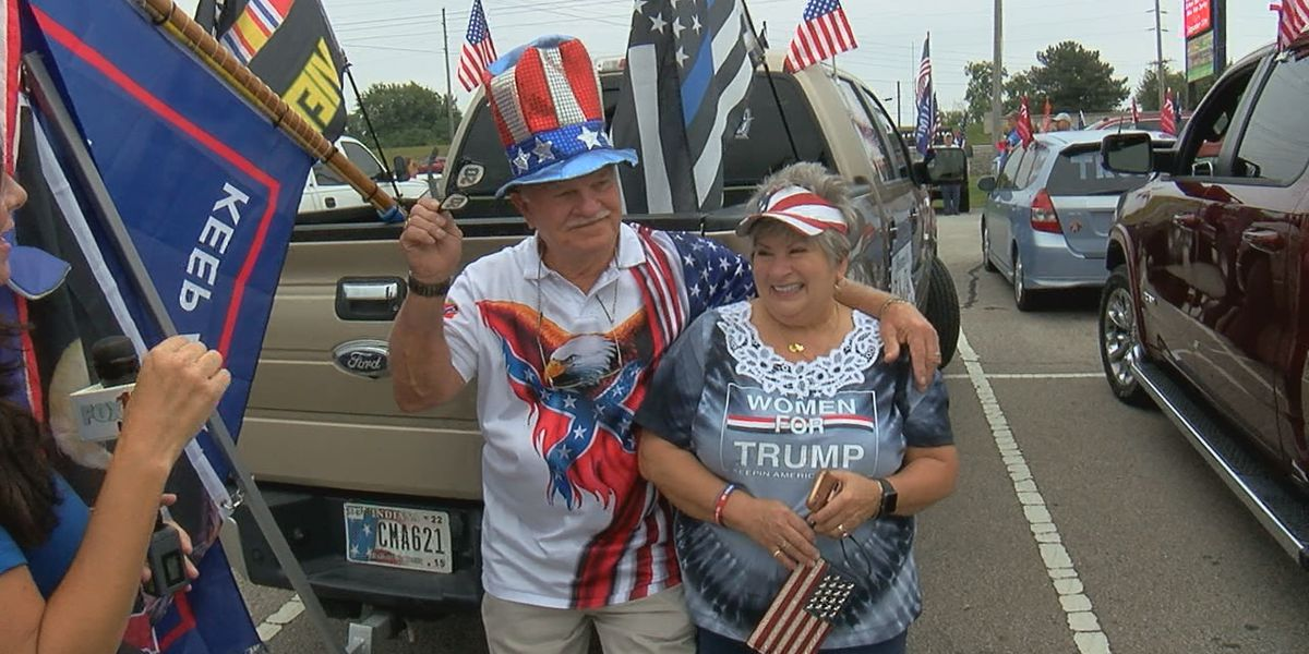 Thousands gather at 'rolling rally' for President Trump