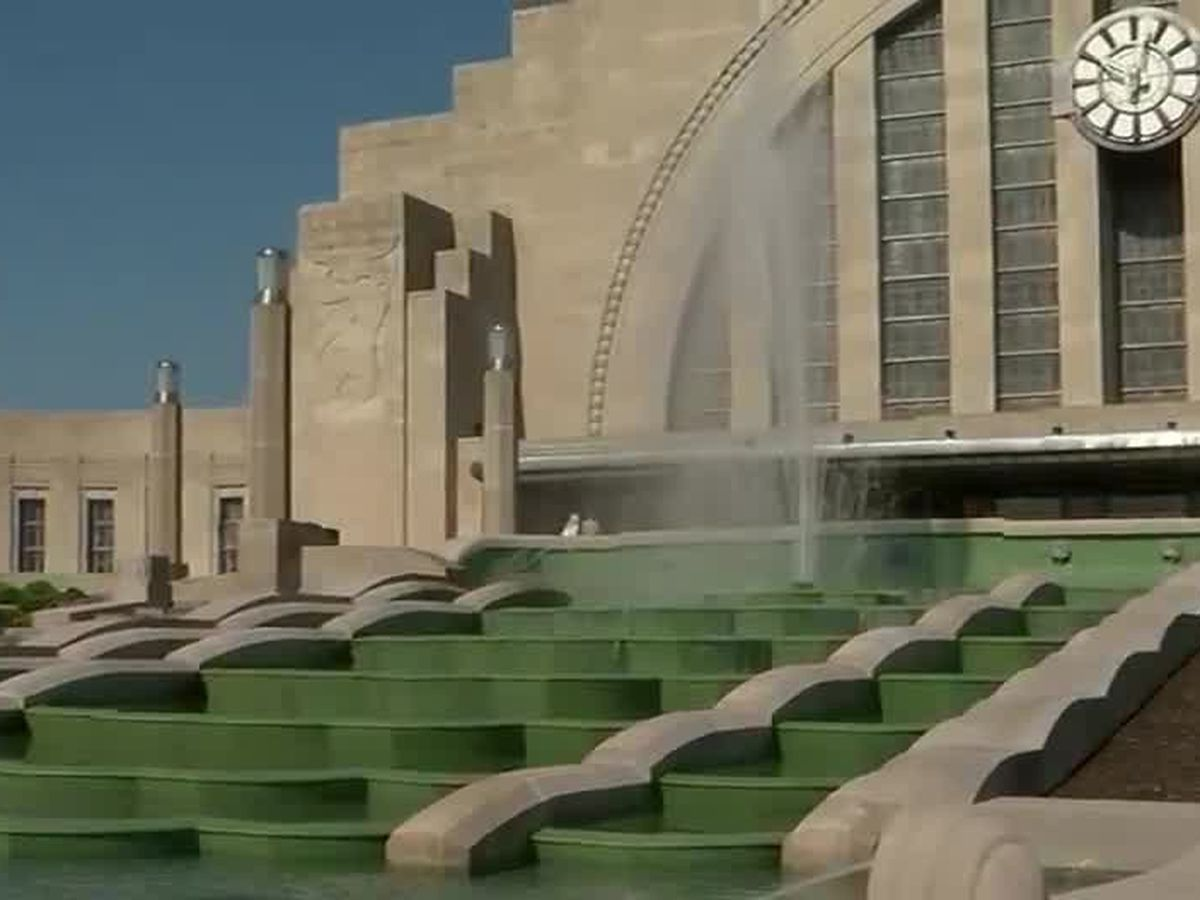 Historic fountain at Union Terminal now flowing