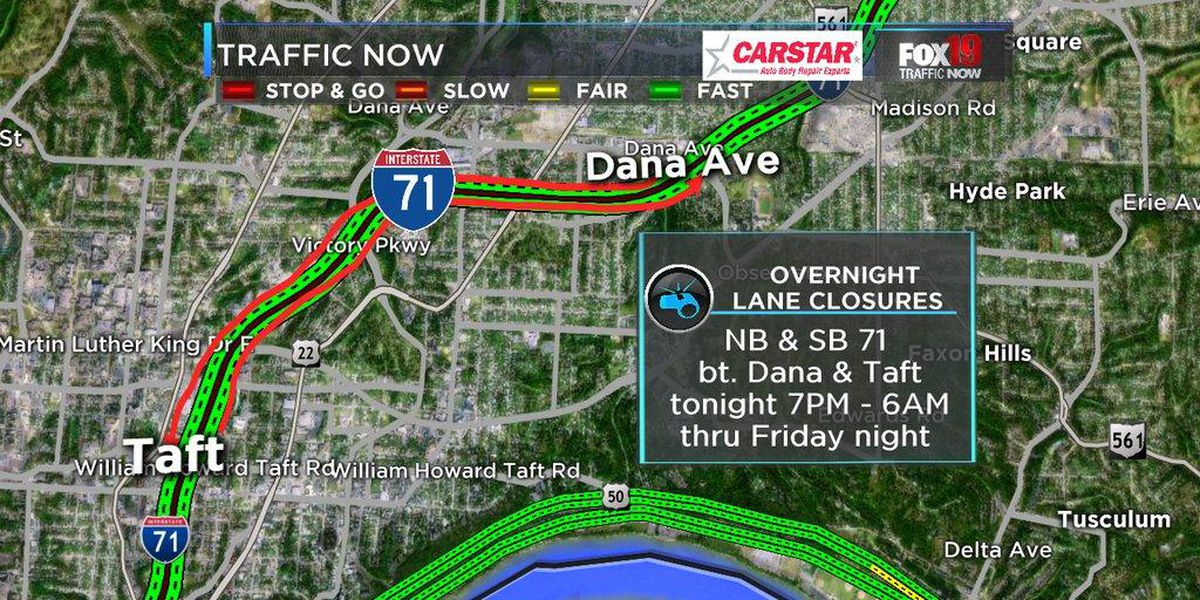 Overnight lane closures on Interstate 71 at Martin Luther King