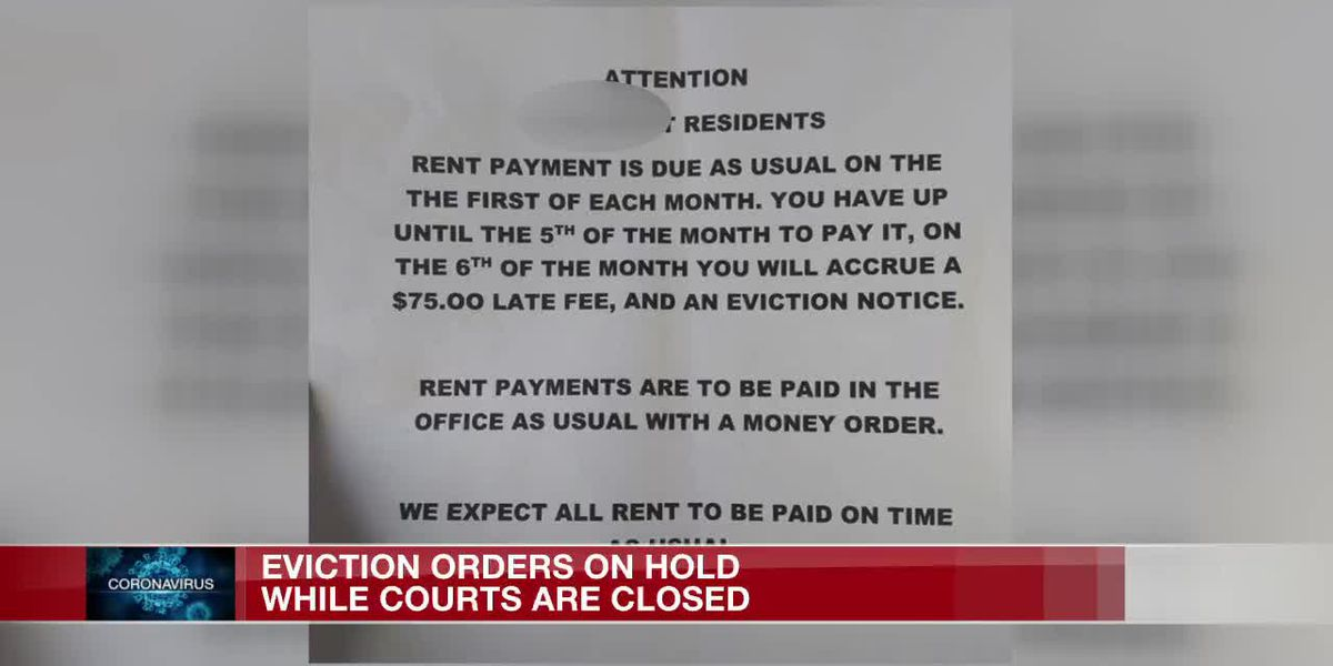 Eviction orders on hold while courts are closed