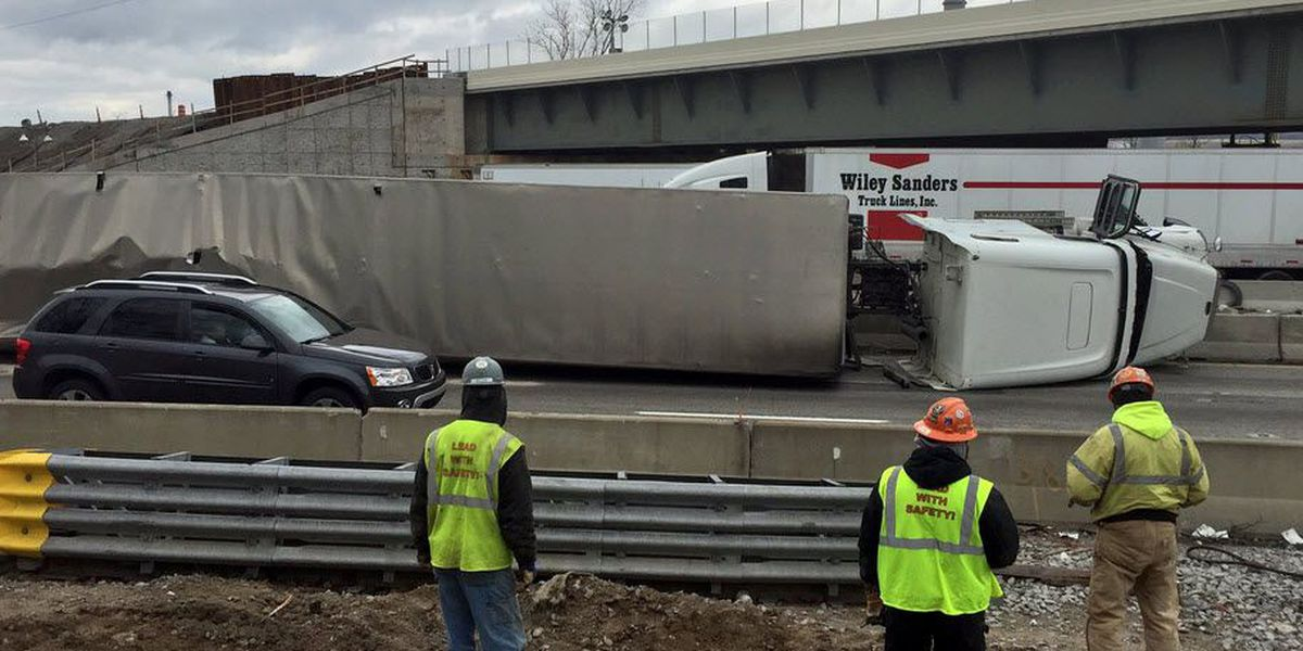 All lanes of northbound I-75 near I-74 have reopened after an overturned semi-truck.