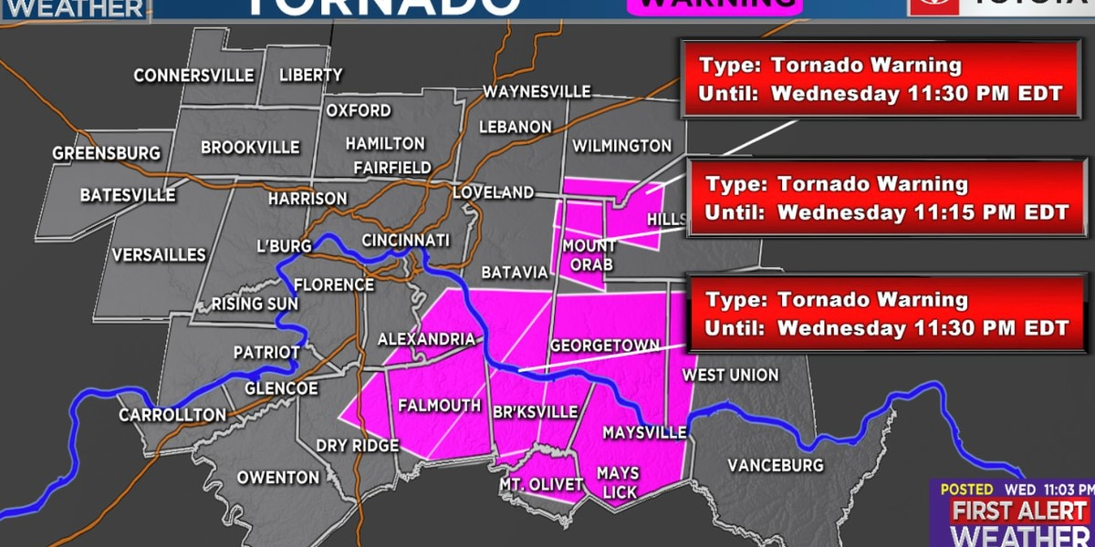 Tornado Warnings issued for Tri-State counties