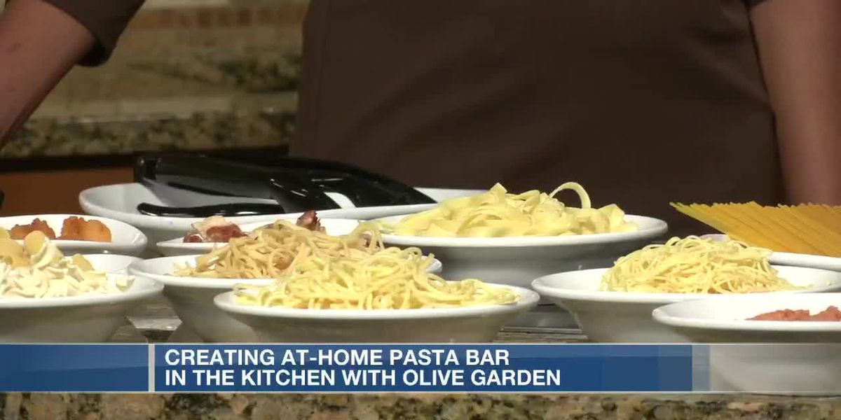 At home pasta bar with Olive Garden