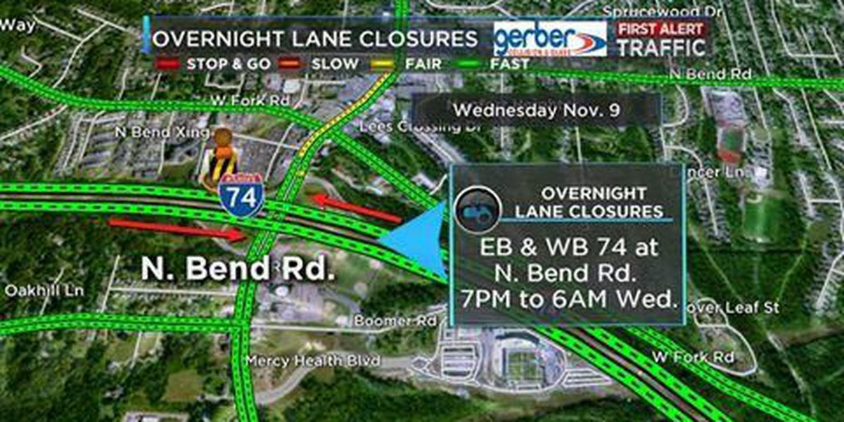 Overnight lane, ramp closures on I-74 at North Bend Road