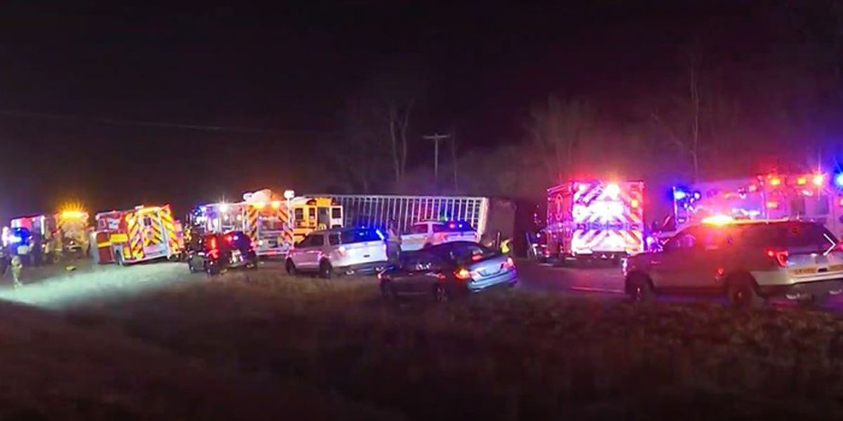 Head-on collision involving semi and school bus kills 2, injures several in IL