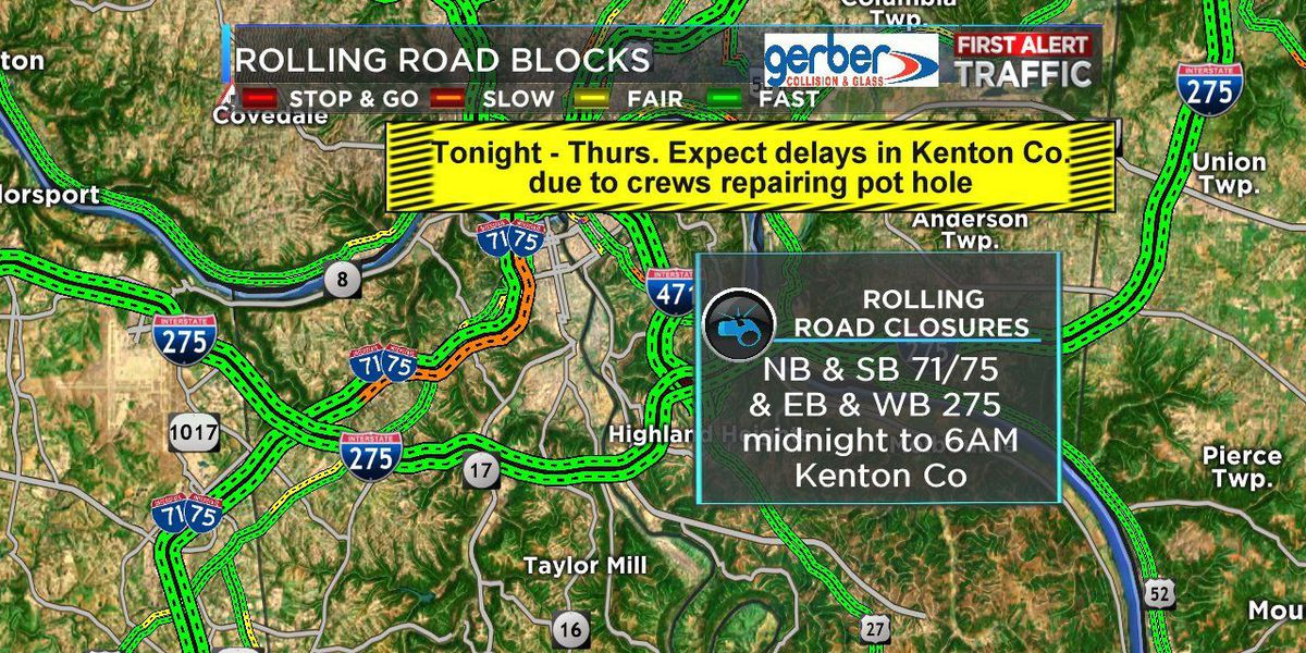 Expect delays in Kenton County due to 'rolling' road blocks