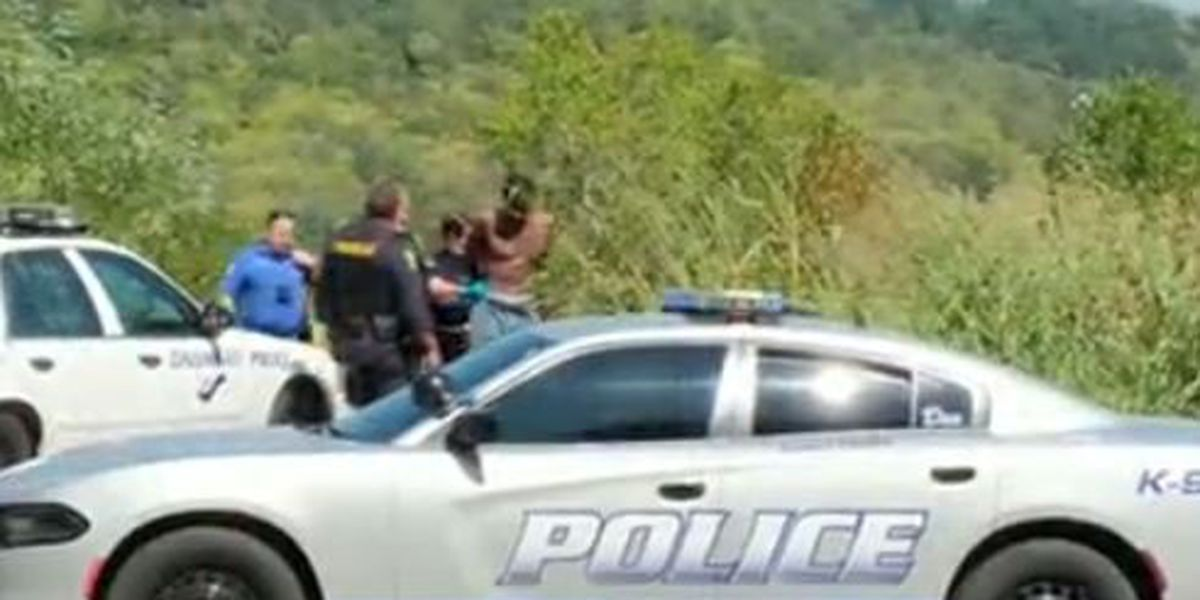 VIDEO: Police locate suspect in woods after Green Twp. bank robbery