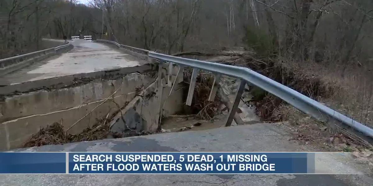 Search suspended for person missing after floodwaters wash out bridge