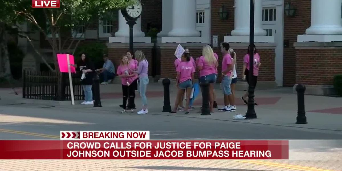 Paige Johnson supporters rally outside courthouse ahead of suspect's appearance