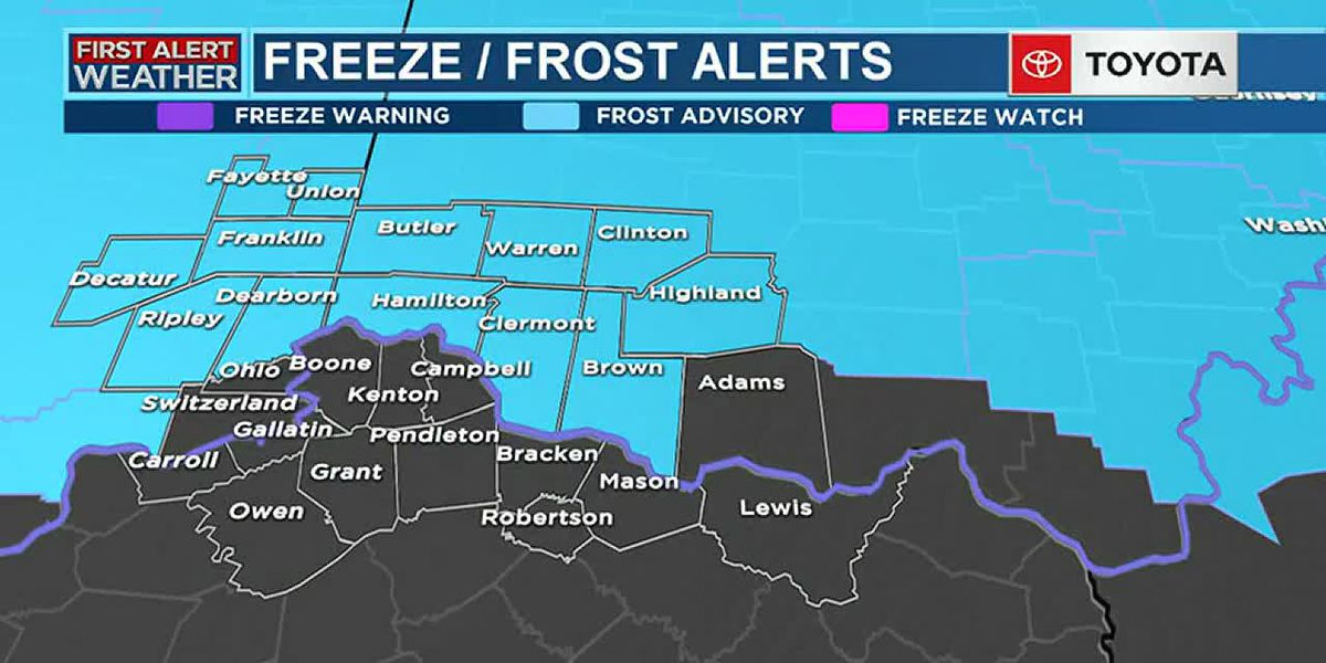 TUE WED Overnight Update - Frost Advisory
