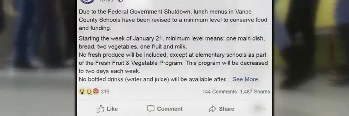 Government shutdown forces change to school lunch
