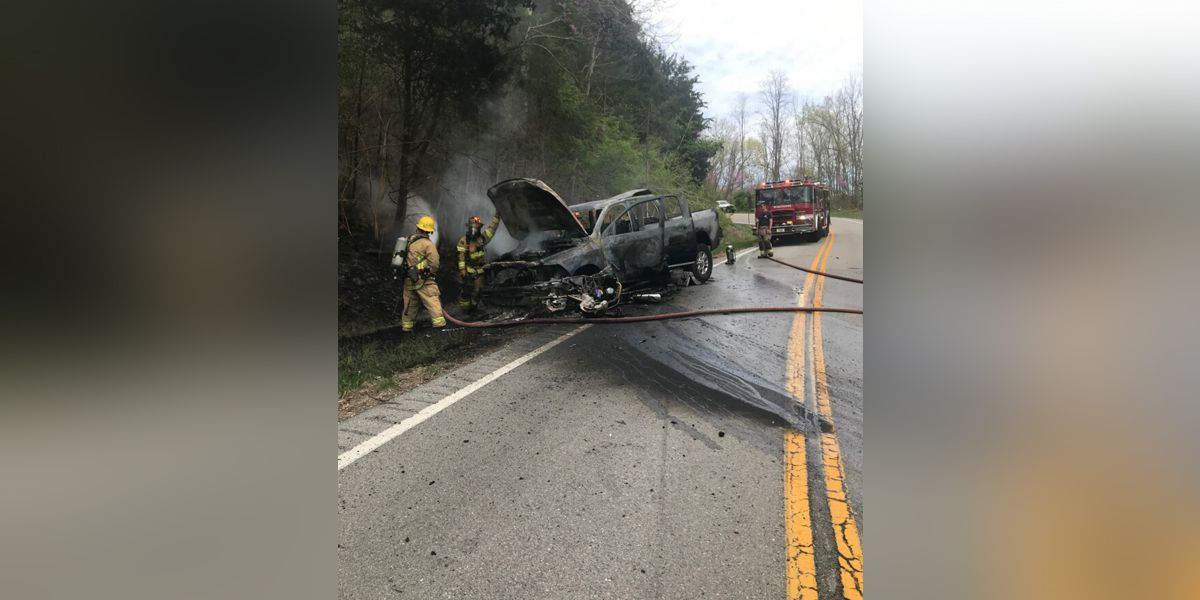 Accident in Union KY leaves two vehicles in flames
