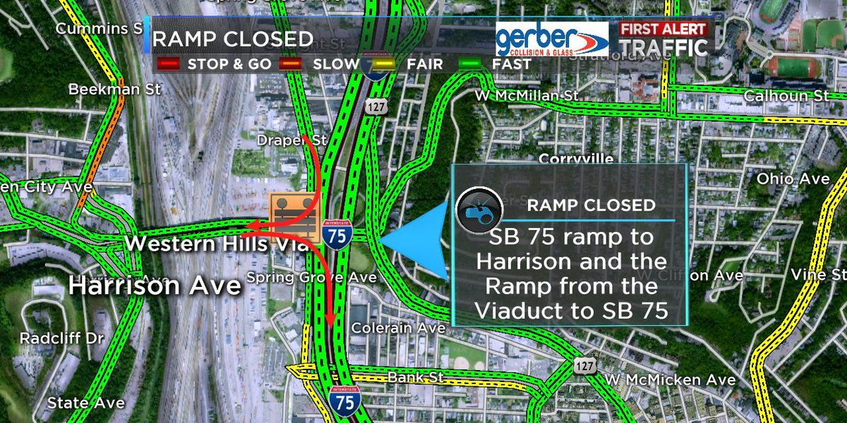 SB I-75 lane and ramp closures Thursday night