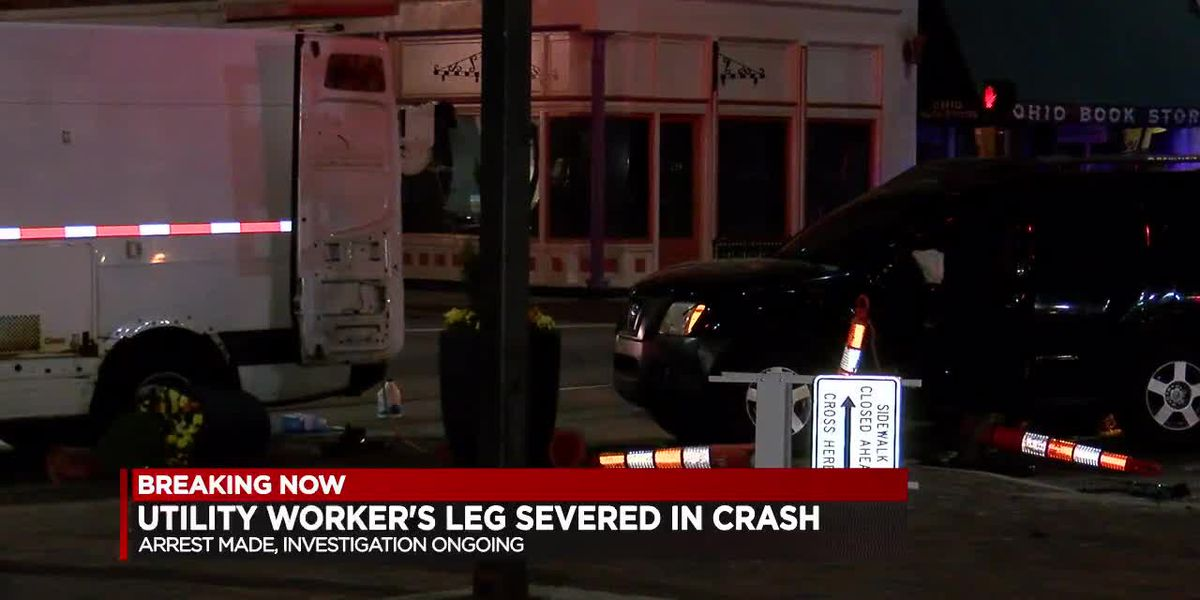 Utility worker's leg severed in crash