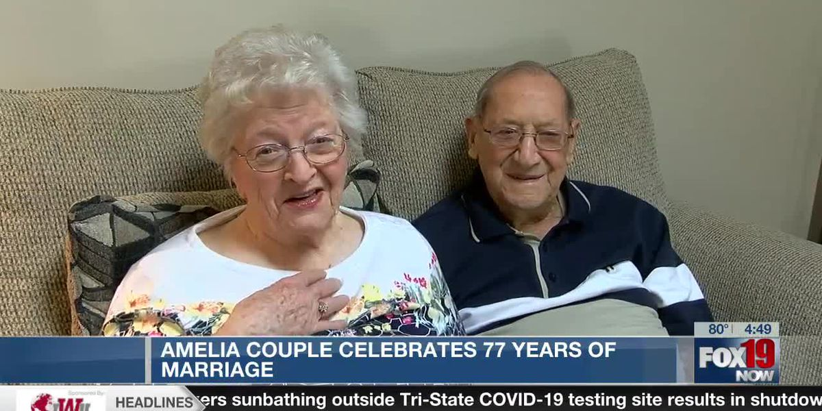 Amelia couple celebrates 77 years of marriage