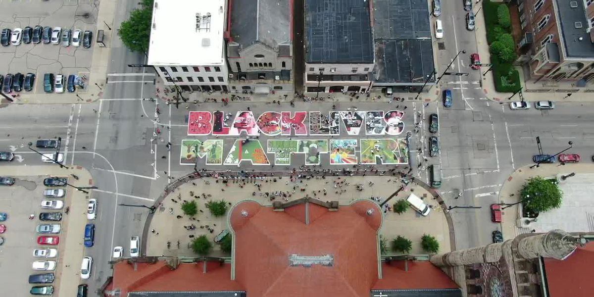 Drone video showcases 'Black Lives Matter!' mural outside Cincinnati City Hall