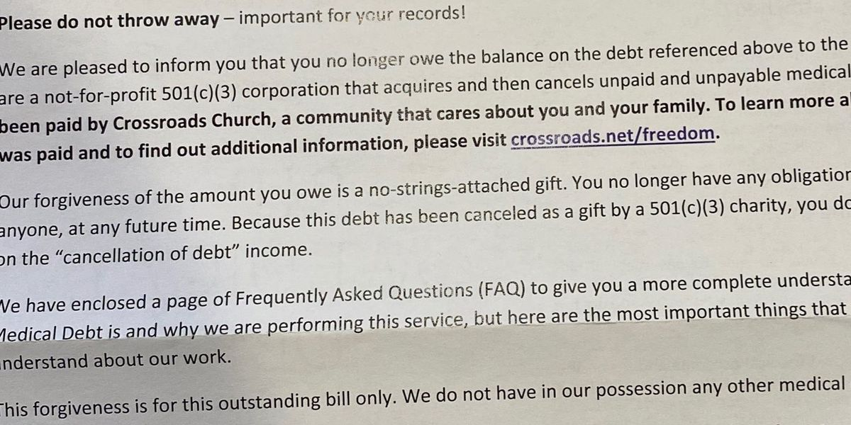 'I'm definitely paying it forward': Church, nonprofit wipe out $46.5M in medical debt for thousands in Tri-State