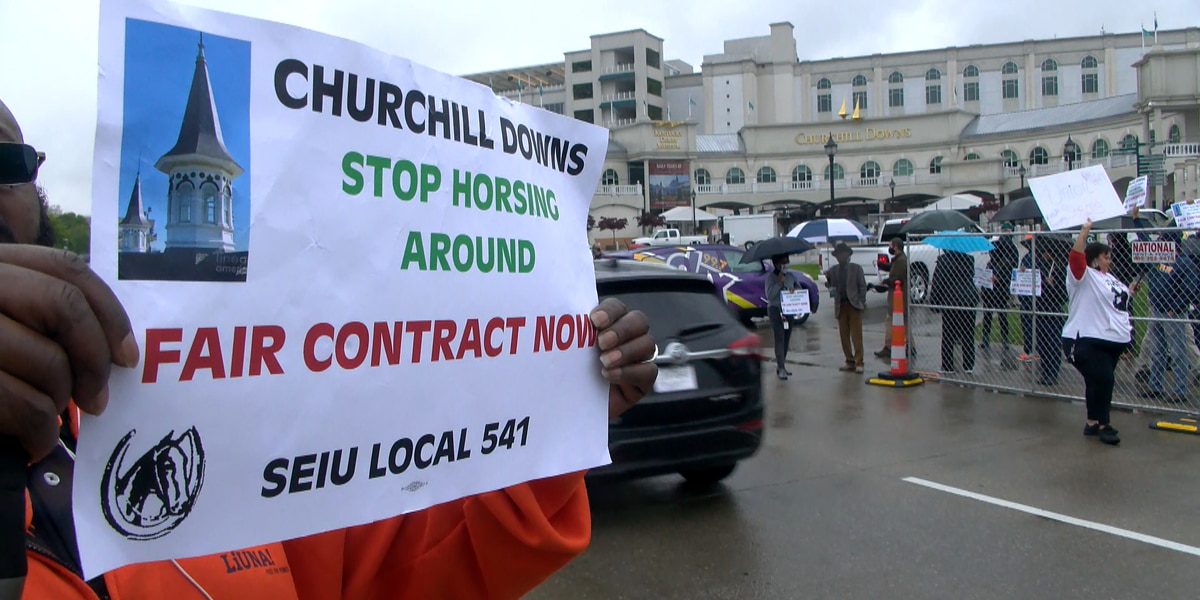 Churchill Downs valets protest for fair wages ahead of Kentucky Derby