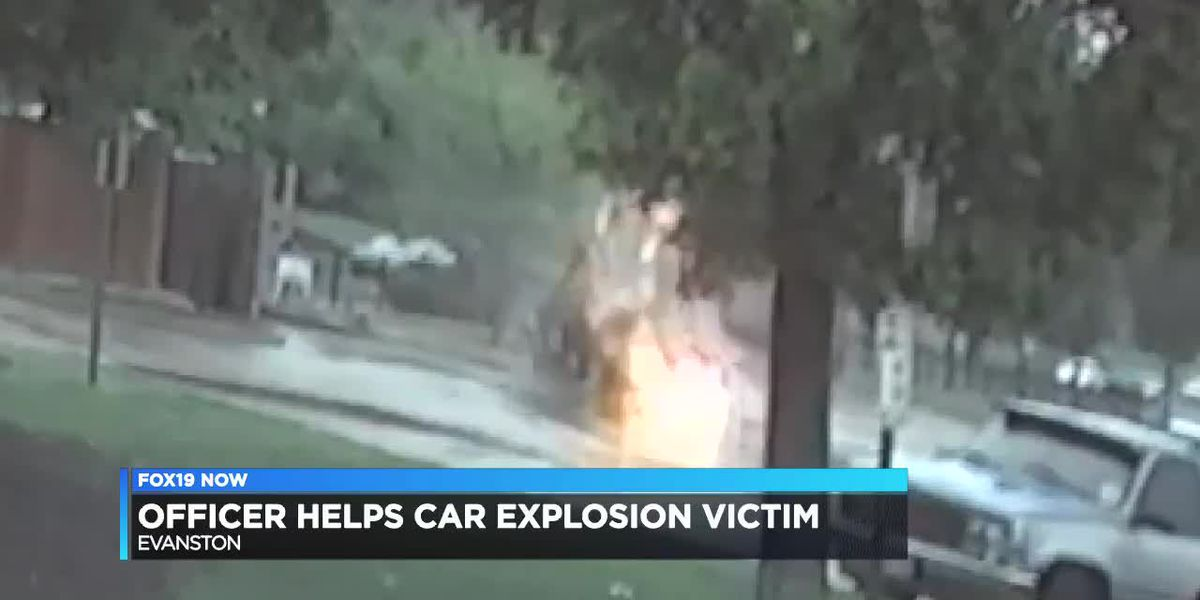 Officer helps car explosion victim