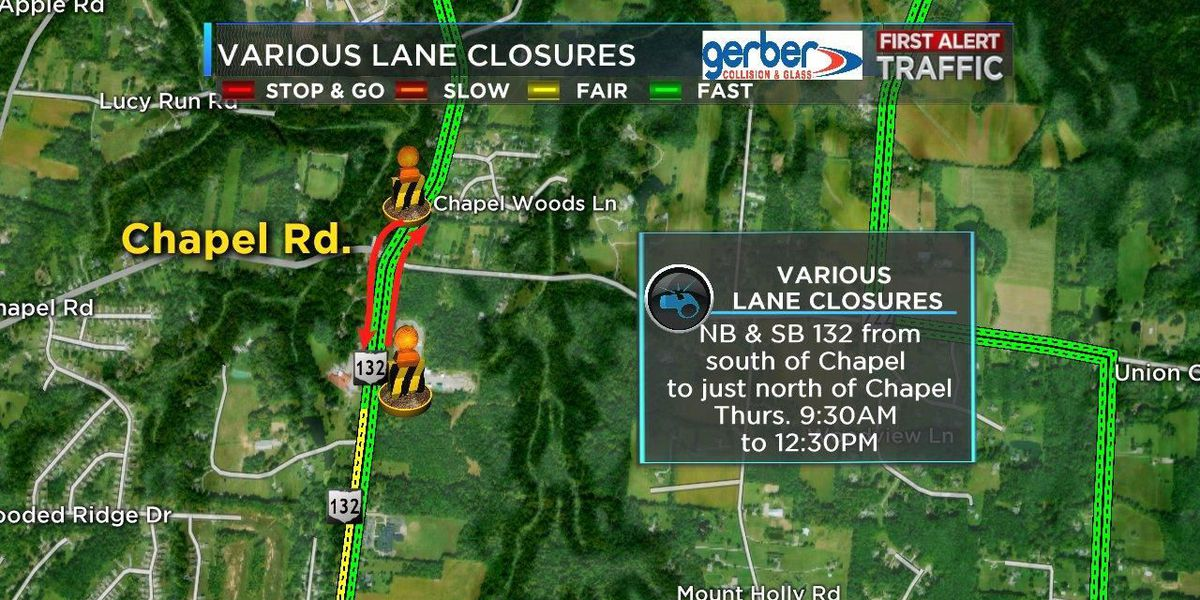 Lane closures on State Route 132 scheduled for Thursday