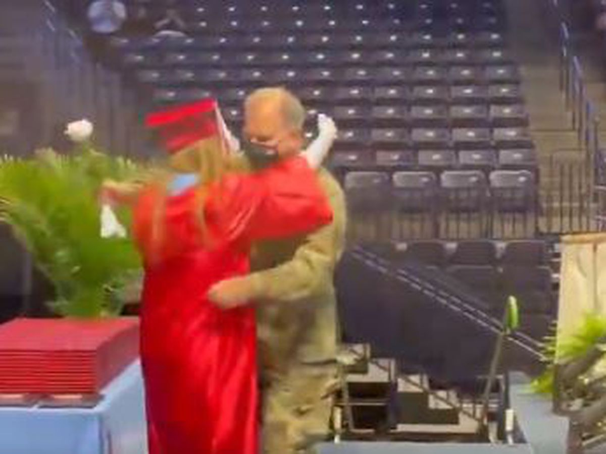 Soldier surprises daughter at Kings High School graduation