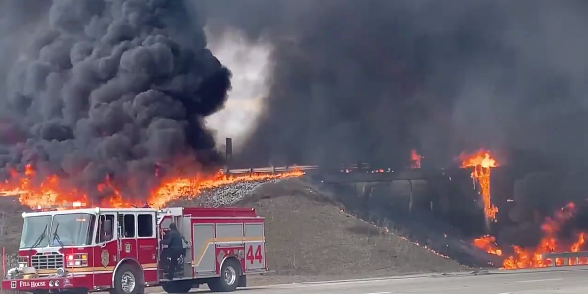 Tanker fire causes 'catastrophic' damage on interstate ramp in Indianapolis