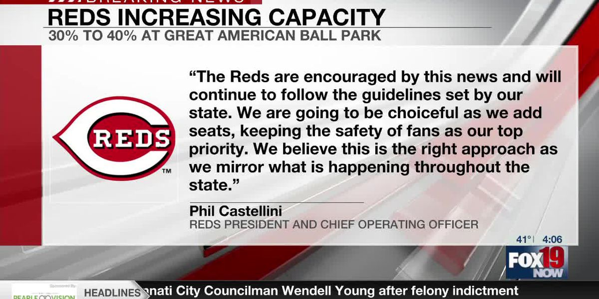 Reds to increase capacity at Great American Ball park