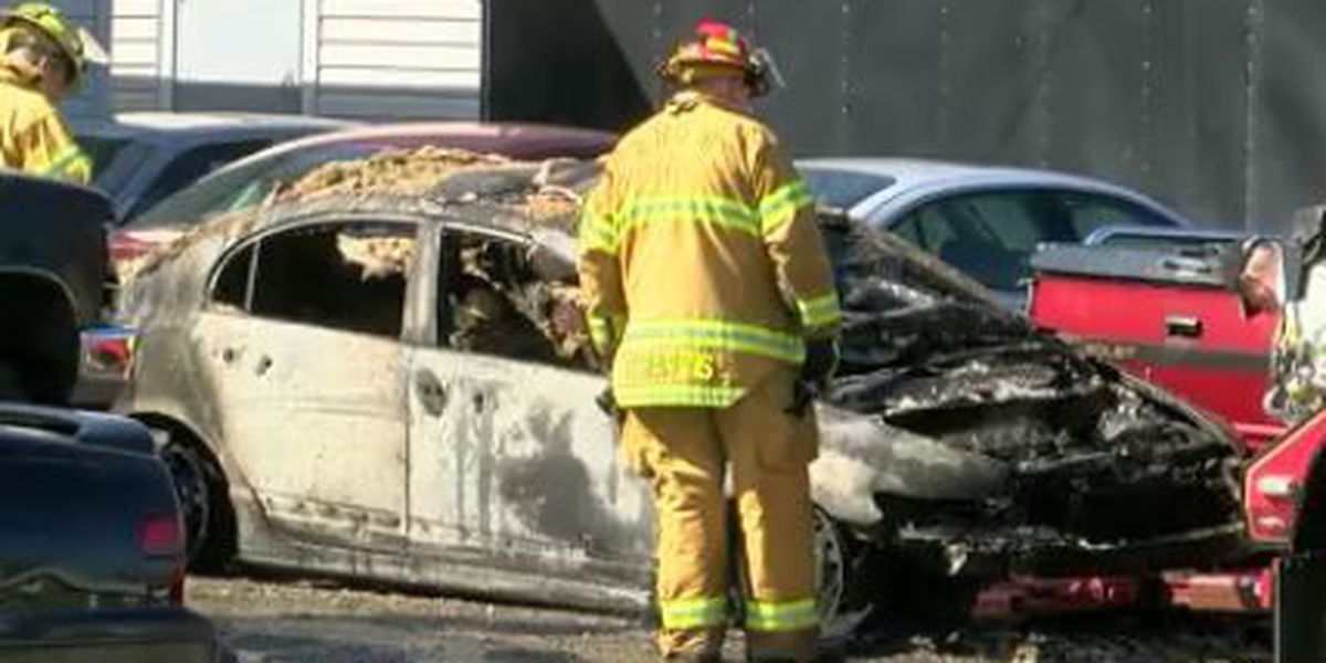 Man dies after being seriously burned in auto body shop car fire