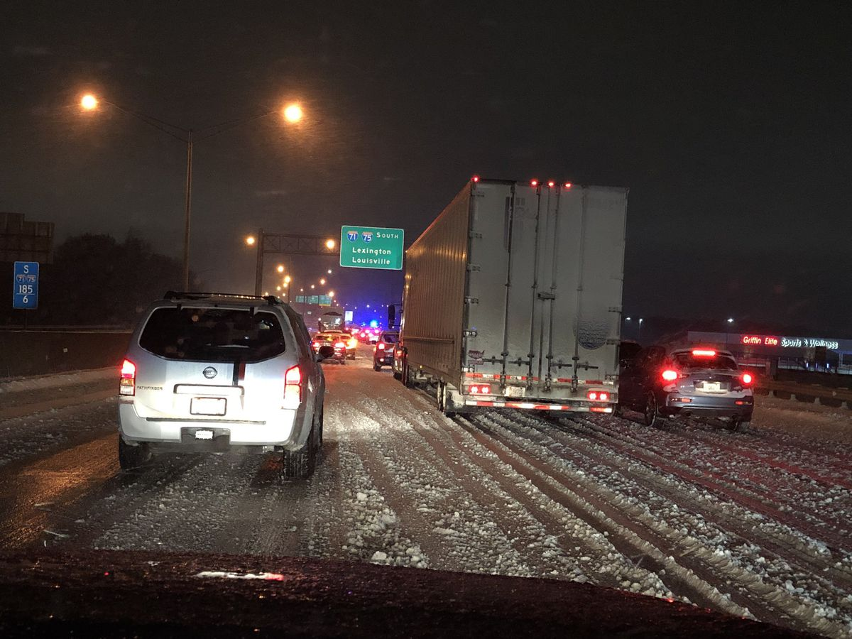 Jack-knifed semi brings traffic to a crawl on I-71/75 in northern KY