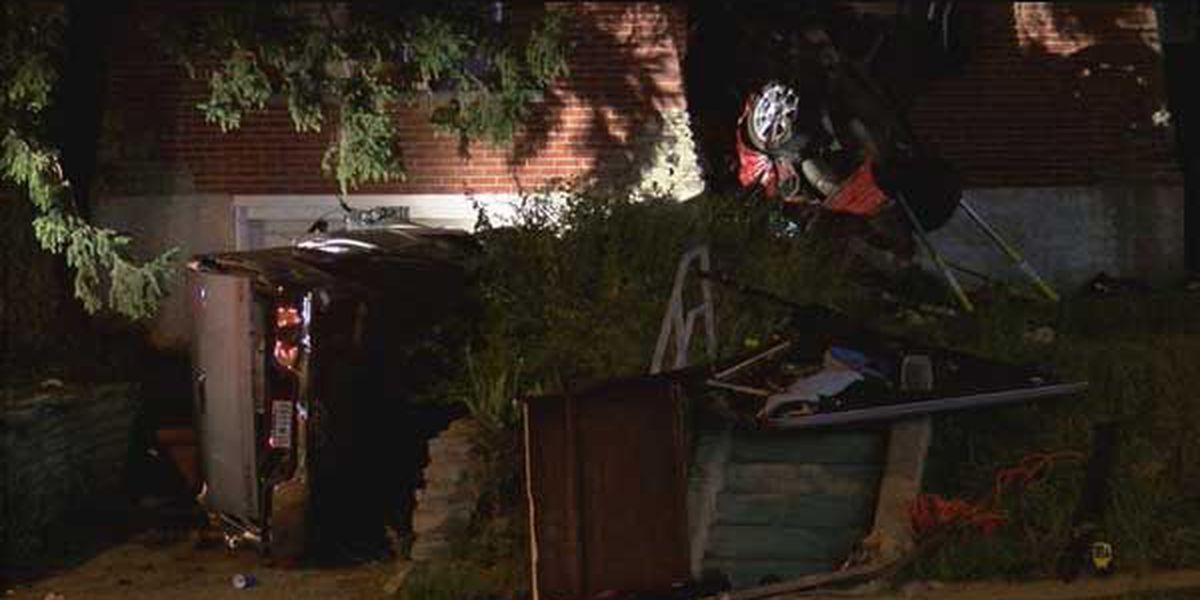 1 dead, 3 hurt when car flips upside down into Westwood home