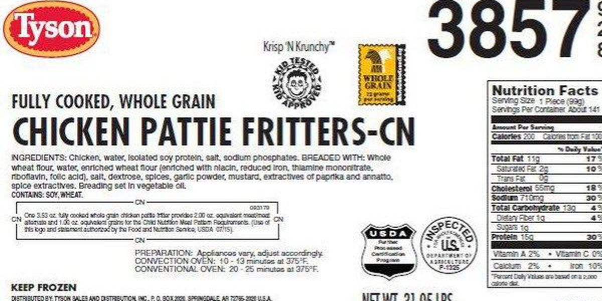Tyson recalls 2.4 million pounds of chicken products