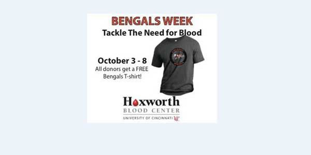 Hoxworth-Bengals Blood Drive this week