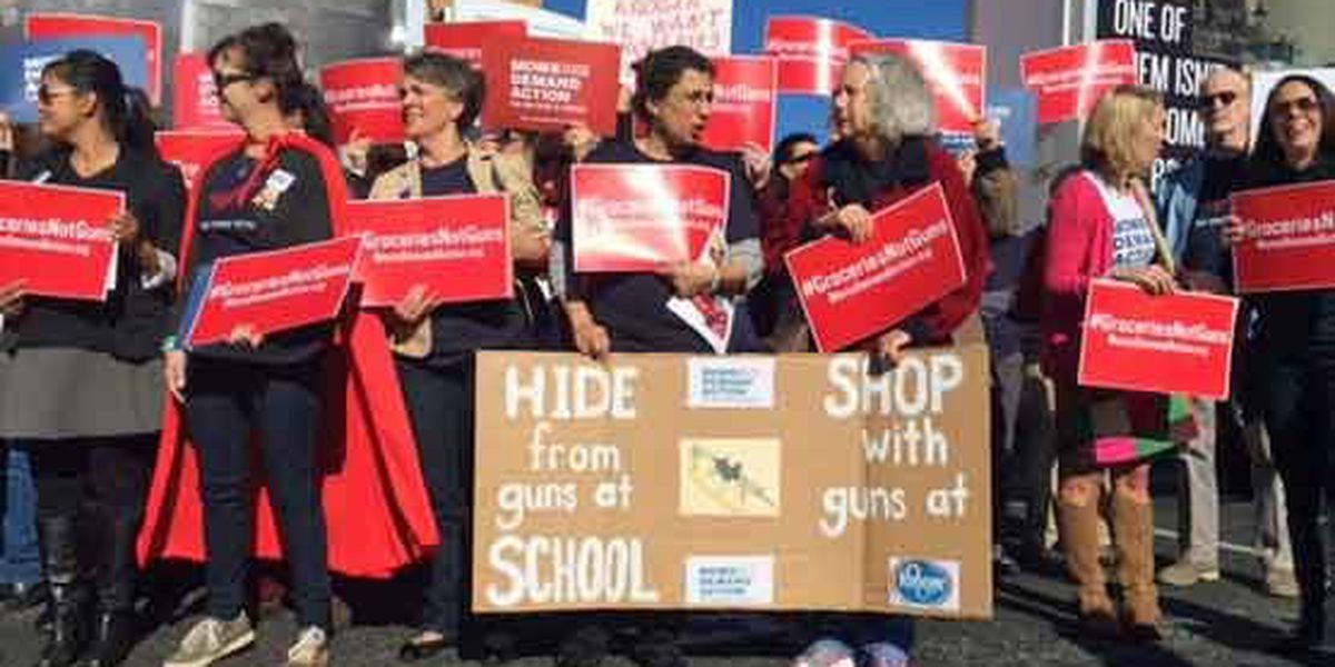 Groceries not guns: Moms picket Kroger annual meeting