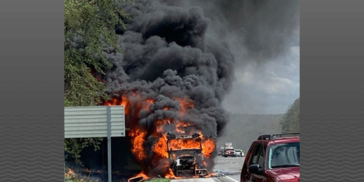 Semi-tractor carrying pies becomes engulfed in flames on I-64 West