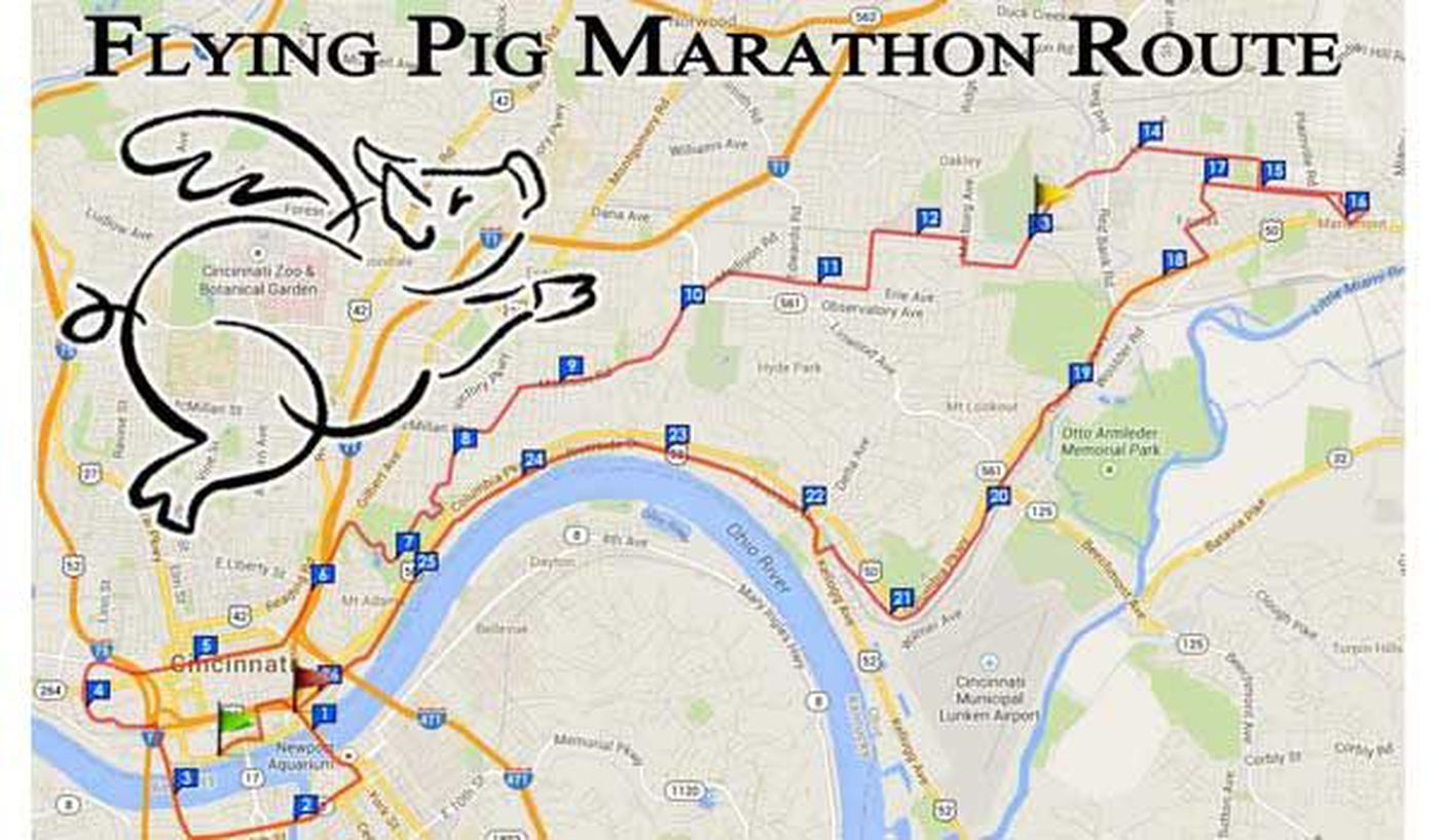 map: flying pig marathon course