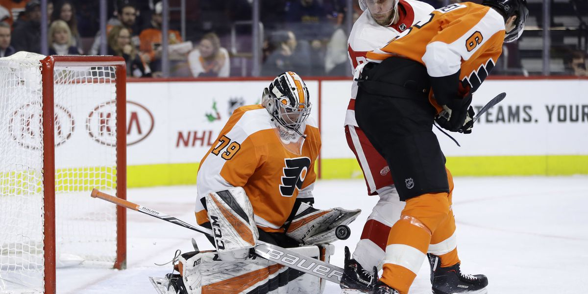 Hart stops 22 shots in NHL debut, Flyers top Red Wings 3-2