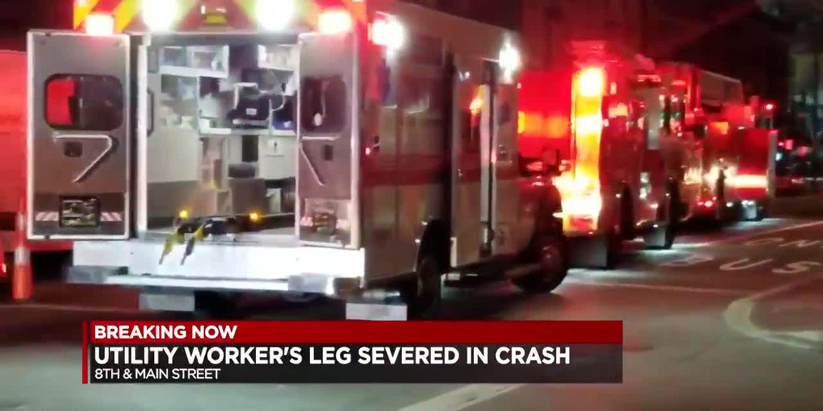 Utility worker's leg severed in hit-skip crash Downtown