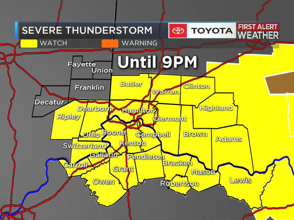 Severe thunderstorm watch for most of the Tri-State until 9pm