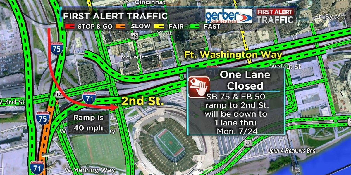 SB I-75 ramp to Second Street to be down to one lane