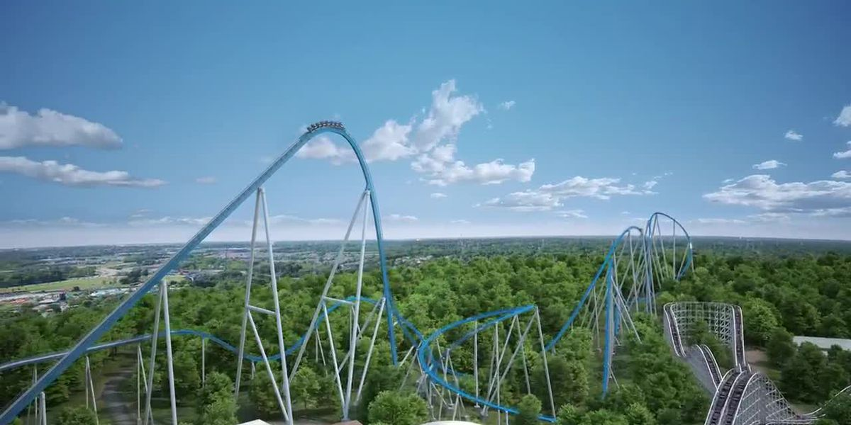 Bird's eye view of Kings Island's new roller coaster Orion