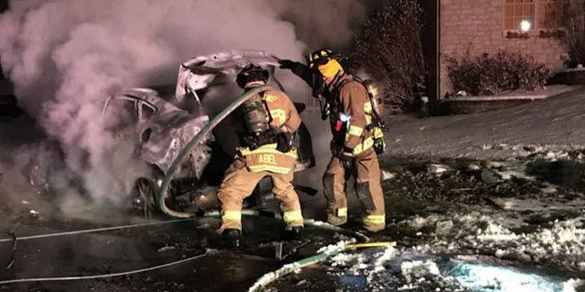 Police: Suspect crashes in stolen car, causes fire