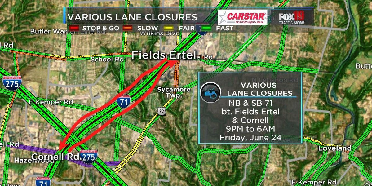 Weekend Ramp/Lane closures for Interstate 71 and I-275